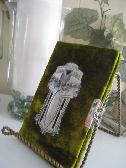 Victorian German Green Velvet Personal Notebook w/Art Nouveau Decor