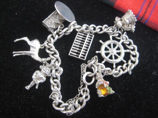 Vintage English Silver Charm Bracelet and Rabbit