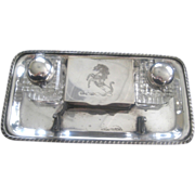 Vintage Silver Plated Inkwell Set W/Prancing Horse Design