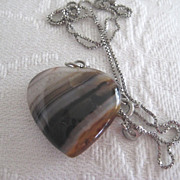 Pretty Heart Shaped Banded Agate Heart on Silver Chain