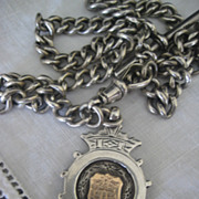 Victorian English Silver Hallmarked Chain and Medal