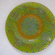 Mid Century Modern  Signed Higgins Glass Plate