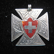 Vintage English Hallmarked Medal w/Red Shield & Cross