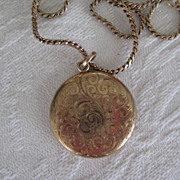 Vintage Round Rose Gold Filled Locket with Initials EJG