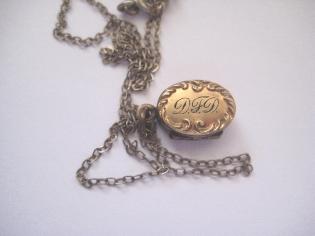 Pretty Gold Filled Tiny Locket with Initials D F D