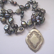 Vintage English Silverplate Medal on Pearl Bead Chain