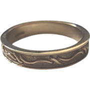 Vintage English 9ct Gold Sculpted Wedding Band, size 8.5