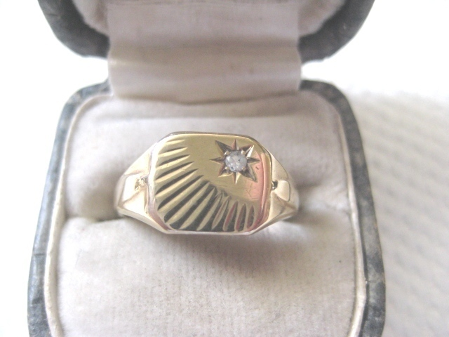 Vintage 9ct And Diamond English Signet Ring, size 7.75