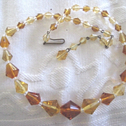 Pretty Vintage Necklace with Amber Colored Beads