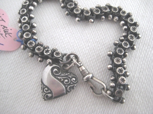 Fabulous Victorian Silver Bracelet with slightly Newer Heart
