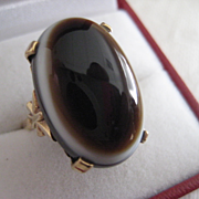REDUCED: Fabulous Vintage 9ct Gold Banded Agate Ring 8 to 8 1/2
