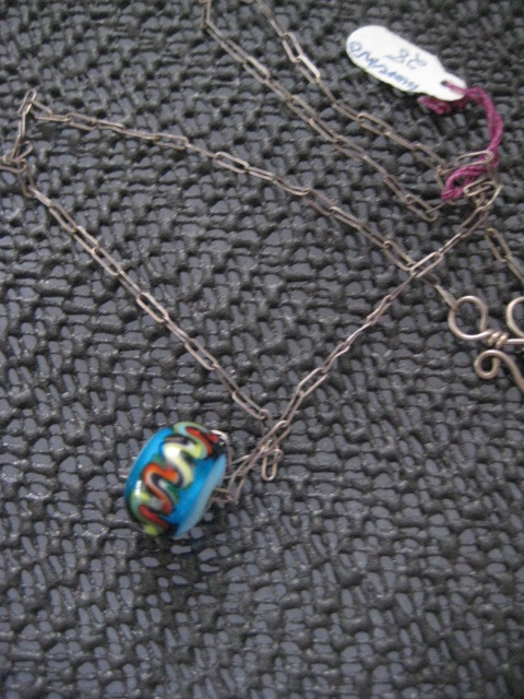 Pretty Vintage Silver Chain w/Large Murano Glass Bead