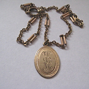 Pretty Vintage Gold Fill Pendant W.L.M. on Darling Chain