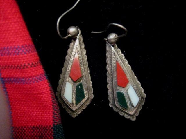Victorian Scottish Silver Earrings w/Jasper and Agate