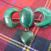 Victorian Scottish Malachite Brooch w/Hanging Heart