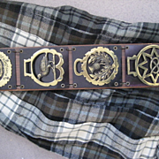 Vintage 4 Horse Brasses Mail Holder w/Scottish thistle