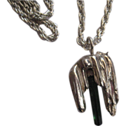 Artisan Sterling Pendant and chain w/Tourmaline