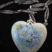 Forget-Me-Not Heart Shaped Hand Painted Pendant, 1920's Deco chain