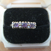 REDUCED:  Vintage English Engagement Ring, 9ct, Amethyst/Diamond, Size 7