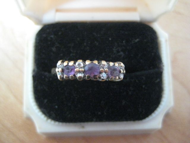 Vintage English Engagement Ring, 9ct, Amethyst & Diamond, Size 7