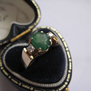 Vintage 14K Gold Emerald Ring w/Diamonds, Size 5.0