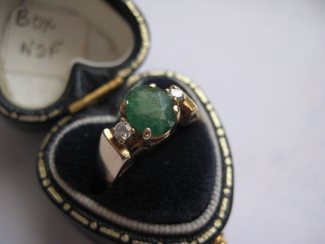 Vintage 14K Gold Emerald Ring w/Diamonds, Size 4.5 - 4.75