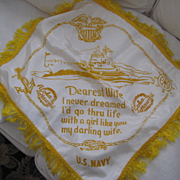 "WWII U S Navy ""Darling Wife"" Pillowcase From Hawaii"