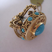 SALE:  Vintage 18K Gold and Persian Turquoise Crown Charm