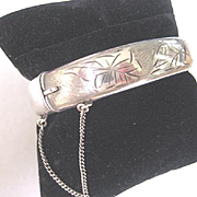 "Vintage English Hallmarked Silver Bangle ""ANNE"", Hinged"