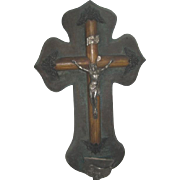 Large Antique French Velvet Crucifix Benetier/Water Font (As is)