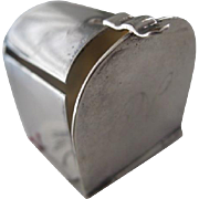 Vintage Silver Plate Stamp Roll Holder (Mail Box)-Initial 'D'