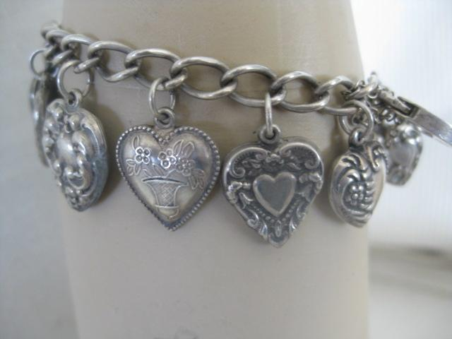 Vintage Silver Heart Bracelet w/Thirteen Hearts & Lock