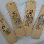 Set of 4 Vintage French Bookmarks/Japanese Writing