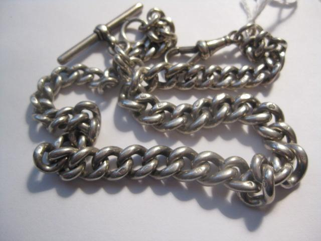 Early 1900s Heavy Hallmarked Silver Watch Chain 15 1/2 inches long