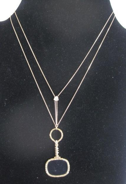 Victorian Gold Fill Slider chain with Antique Magnifying Glass