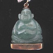 Adorable Vintage Jade Buddha w/14k Gold Base Initials W.E.H.