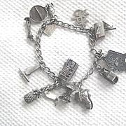 "Vintage Silver ""travelers"" Charm Bracelet w/11 Charms"