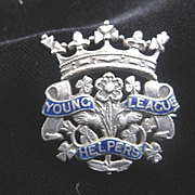 "Victorian English Silver ""Young League Helpers"" Brooch"