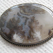 Beautiful Antique Moss Agate Brooch - Large