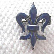 Beautiful Vintage Colbalt Blue Enamel Fluer-de-Lis Guard Pin