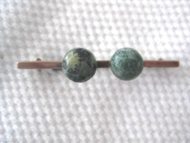 Early 1900s 9ct Gold Irish Connamara Marble Bar Pin