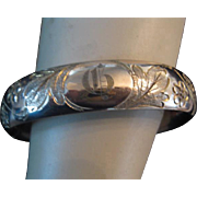 Early 1900s Wide Hinged Gold Filled Bangle Initial G or D  c1911