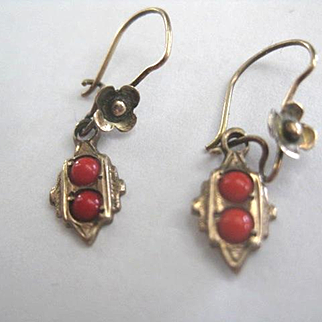 Precious Tiny Victorian Baby Earrings with Coral