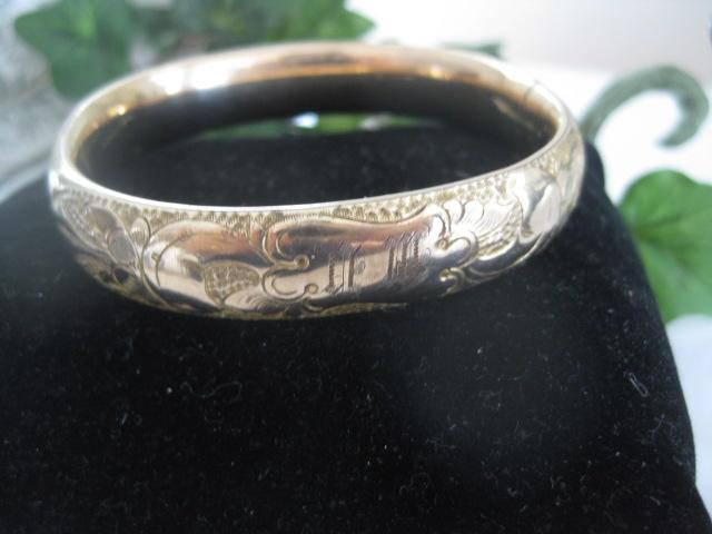 Early 1900s gold Filled Ornate Bangle with Initials