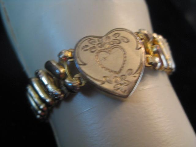 Early 1900s Gold Filled Stretch Bangle with heart