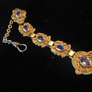 Exceptional Early 1900s Gold Filled Fob with Pale Amethysts