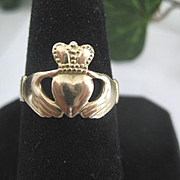 Vintage 14K Gold Irish Claddagh Ring Size 6.75