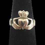 Vintage 14K Gold Irish Claddagh Ring Size 6.75