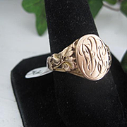 Early 1900s Rose Gold Signet Ring Size 8.75 w/Initials