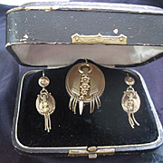 Victorian Rose Gold Earrings/Brooch cum Pendant Set in Original Box